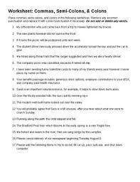Semicolons And Colons Worksheets Grammar Comma Semi Colon Colon Worksheet Key By Linda Clay
