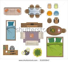 floor plan with furniture. floor plan furniture set vector illustration with