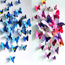 12pcs lot colorful pvc 3d erfly wall stickers home decor cute erflies wall decor uneeco