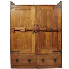 antique french arts and crafts inlaid oak armoire wardrobe at stdibs
