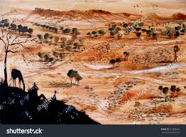 outback australia panorama painting with man and horse in foreground