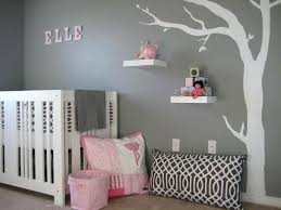 pink and grey decor baby nursery awesome ideas wall simple design tree  white color decorations
