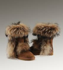 UGG Fox Fur Short Boots 5825 Chestnut Hot Sale ...