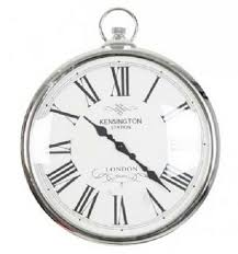 details about wall clock silver pocket watch kensington station roman numerals large 42cm new