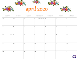 April 2020 Template Printable April 2020 Calendar Calendar Kart