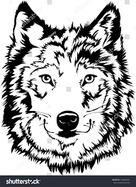 wolf face black and white.  Black Black U0026 White Wolf Face Silhouette Mascot Or Tattoo Art With And E