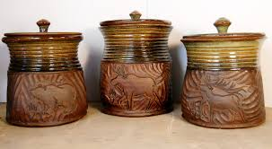 canisters wonderful rustic kitchen canister set sets brown ceramic 3