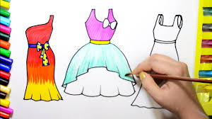 Draw Color Paint Barbie Pretty Dresses Coloring Page and Learn ...