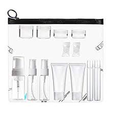amazon plastic travel size toiletries bottles and jars set tsa approved bpa free portable makeup cosmetic liquid cream empty travel conners with