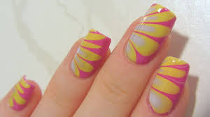 Summery Pastel Water Marble with Dark Pink, Lime Yellow & Lavender Nail Art  Tutorial - YouTube