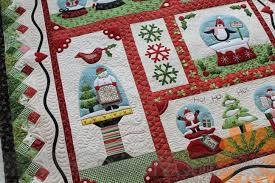 Piece N Quilt: Snow Globe Village Quilt - Custom Machine Quilting ... & In the red I machine quilted ribbon candy. Then in all of the white  background I quilted a different filler for each block. Adamdwight.com