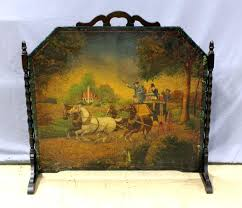 victorian fireplace screen authentic era fireplace screen needlepoint scene hand carved mahogany victorian beveled glass fireplace