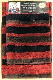 get ations a 2 piece microfiber bath rug set modern stripe pattern bathroom rugs black luxe chenille 21 x 34 3