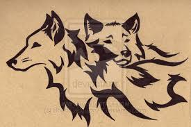 tribal wolf with wings drawing. Plain Wings Tribal Wolf Mates Three By To With Wings Drawing W