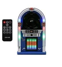 retro mini desktop jukebox with bluetooth front loading cd player fm radio aux
