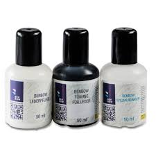benbow leather smart repair kit consisting of leather paint solvent sealant 50ml each a sponge and a cloth