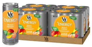 v8 energy juice drink with green tea peach mango 8 oz