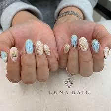 水色大理石ネイル Luna Nailルナネイルのネイルデザイン ネイル