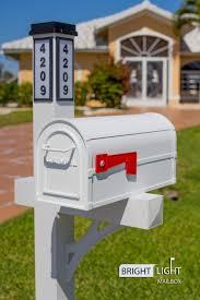 Solar Illuminated White Single Post Mailbox