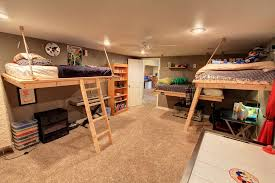 Rustic Kids Bedroom with DIY Hanging Bed Plans, Partially Freestanding Loft  Bed, Ceiling fan