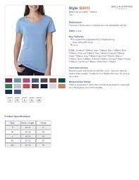 Bella Tee Size Chart Bella Shirts Sizing The Latest Shirt Models 2018