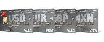 four c i b c smart prepaid travel visa cards