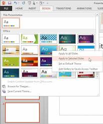 Excel Themes Apply Powerpoint Template To Existing Presentation 2013 Applying