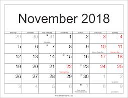 november 2018 calendar printable with holidays pdf and jpg