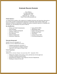 Graduate Resume Example And Educational Background For Profile