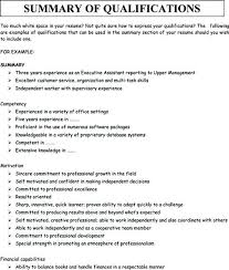 Examples Of Qualifications For Resumes Ability Summary For Resume Skinalluremedspa Com
