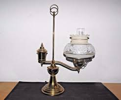 gone with the wind vintage 3way brass electric oil burner student hurricane lamp
