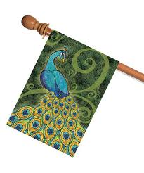 Green \u0026 Blue Pretty Peacock Outdoor Flag Toland Home Garden | zulily