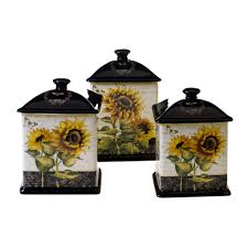 Yellow Canister Sets Kitchen Certified International French Sunflowers 3 Piece Kitchen Canister