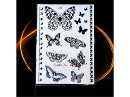 Voděodolné Dočasné Tetování Motiv Motýl černá