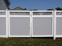 vinyl fence double gate. Oklahoma With Lattice Topper Vinyl Fence Double Gate