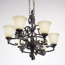 light of wrought iron with beige matt glass shades save