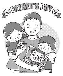 若いお父さん父の日の親子モノクロ 子供と動物のイラスト屋さん