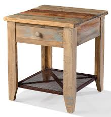 rustic end tables. Solid Pine Wood Rustic End Table With Drawer And Iron Mesh Shelf Multi-colored Finish Tables