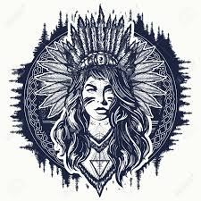 Tribal Indian Woman Tattoo And T Shirt Design Native American