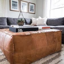 amazing square ottoman pouffe moroccan leather ottoman square image 0