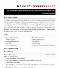 Chemical Operator Resume Chemical Process Operator Resume Sample Livecareer