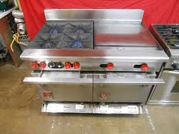 Commercial gas range Southbend Wolf 48 Inch Double Oven Commercial Gas Range With Burners And Griddle Heavy Duty Burner Grates On Casters Stainless Located In Our Portland Oregon Appliancecityinfo Wolf 48in Double Oven Commercial Gas Range With Burners