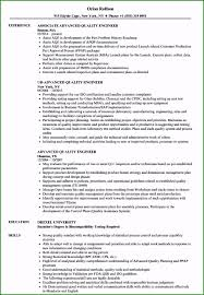 Resume Format For Quality Engineer Advance Resume Format Stunning Advanced Quality Engineer