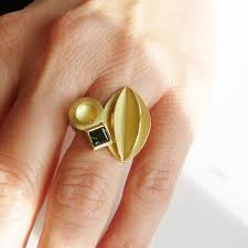 Modern Dress Ring Designs Bold And Modern Statement Gold Dress Ring With Bottle Green