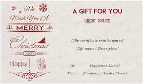 Holiday Gift Card Template 24 Christmas New Year Gift Certificate Templates