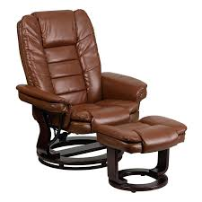 olivia bonded leather swivel recliner chair with ottoman flash furniture contemporary brown vintage and