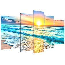 inspiring beach wall art canvas artwork 5 panels seascape paintings decor sea picture parvez taj life on parvez taj beach life canvas wall art with inspiring beach wall art canvas artwork 5 panels seascape paintings