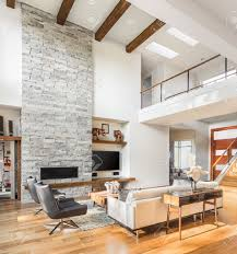 Vaulted Ceiling Living Room Living Room Interior With Hardwood Floors And Fireplace In New