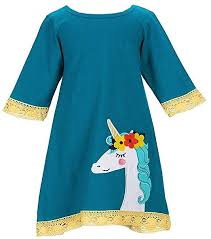 Amazon Com Counting Daisies Girls Teal Fancy Unicorn Size