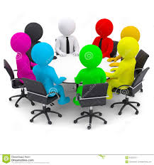 multicolored people sitting at a round table stock ilration